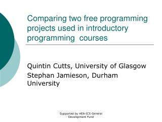 Comparing two free programming projects used in introductory programming  courses