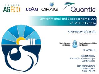 Environmental and Socioeconomic LCA  of  Milk in Canada