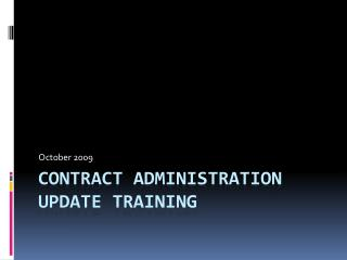 Contract Administration Update Training