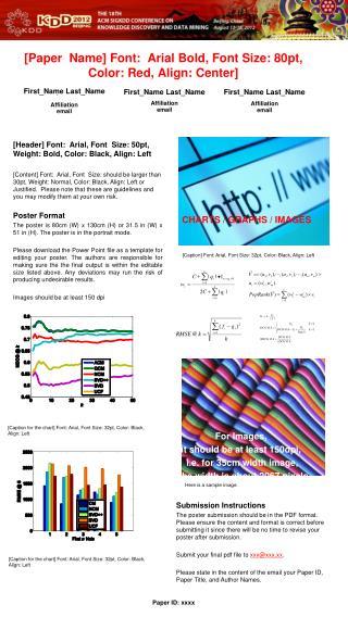 [Paper  Name] Font:  Arial Bold, Font Size: 80pt,  Color: Red, Align: Center]