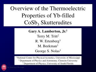 Overview of the Thermoelectric Properties of Yb-filled                    CoSb3 Skutterudites