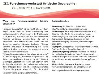 Wozu eine Forschungswerkstatt Kritische Geographie?