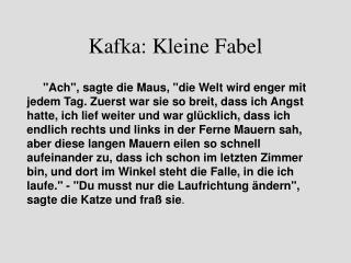 Kafka: Kleine Fabel