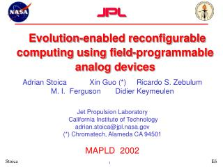 Evolution-enabled reconfigurable  computing using field-programmable analog devices