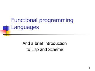Functional programming Languages