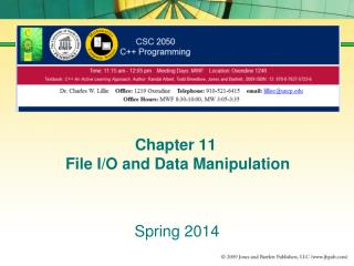 Chapter 11  File I/O and Data Manipulation