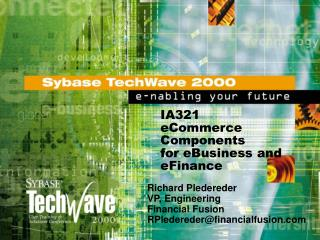 IA321 eCommerce Components  for eBusiness and eFinance