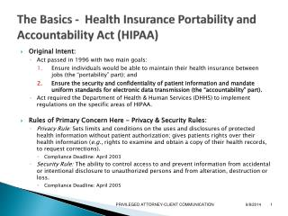 The Basics -  Health Insurance Portability and Accountability Act (HIPAA)