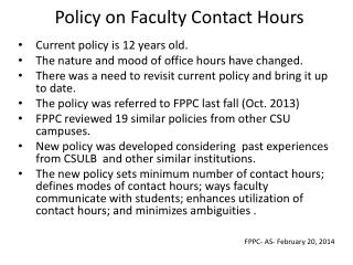 Policy on Faculty Contact Hours