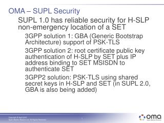 OMA – SUPL Security