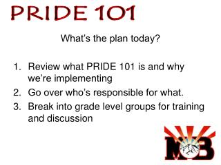 What's the plan today? Review what PRIDE 101 is and why we're implementing