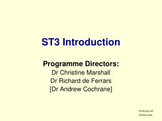 ST3 Introduction