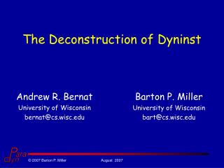The Deconstruction of Dyninst