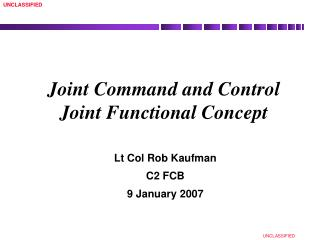 Joint Command and Control Joint Functional Concept