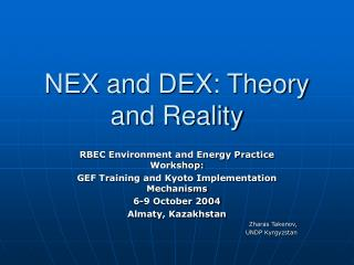 NEX and DEX: Theory and Reality