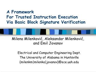 A Framework  For Trusted Instruction Execution Via Basic Block Signature Verification