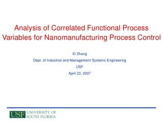 Analysis of Correlated Functional Process Variables for Nanomanufacturing Process Control