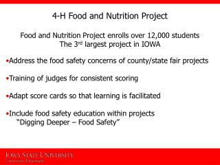 4-H Food and Nutrition Project