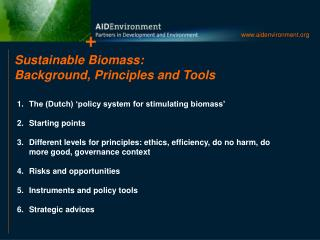 Sustainable Biomass: Background, Principles and Tools