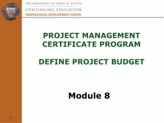 Project Management  Certificate Program  define project budget