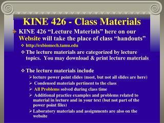 KINE 426 - Class Materials