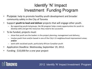 Identify 'N' Impact  Investment  Funding Program