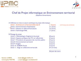 Chef de Projet informatique en Environnement territorial (Diplôme Universitaire)