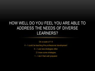 How well do you feel you are able to address the needs of diverse learners?