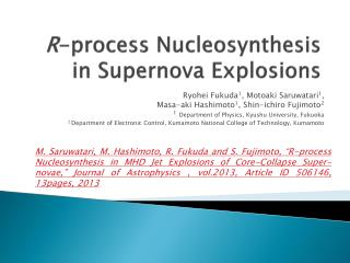 R -process  Nucleosynthesis  in Supernova Explosions