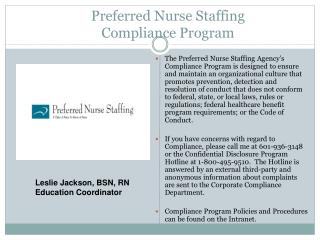 Preferred Nurse Staffing Compliance Program