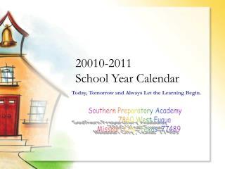 20010-2011 School Year Calendar
