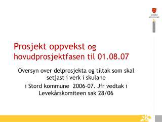 Prosjekt oppvekst  og hovudprosjektfasen til 01.08.07