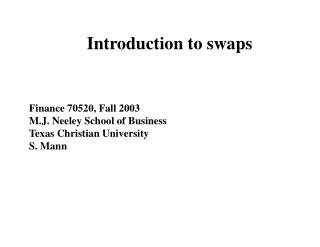 Introduction to swaps