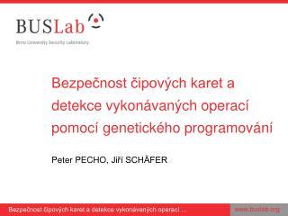 Bezpečnost čipových karet a detekce vykonávaných operací pomocí genetického programování