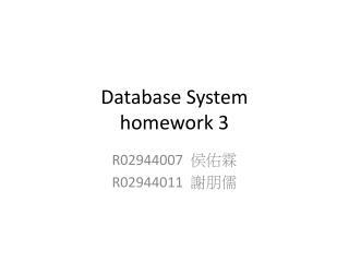 Database System homework 3
