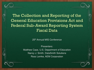 Federal Funding Accountability and Transparency Act FFATA - Subaward and Compensation Data Reporting