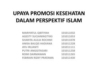 UPAYA PROMOSI KESEHATAN DALAM PERSPEKTIF  ISLAM