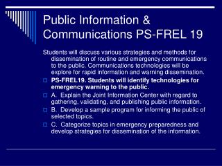 Public Information & Communications PS-FREL 19
