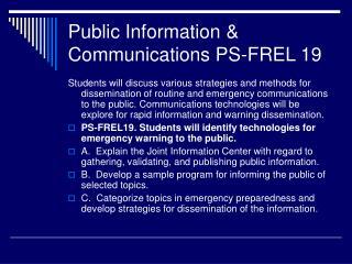 Public Information & Communications PS-FREL 19