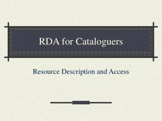 RDA for Cataloguers