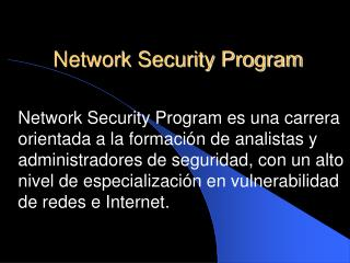 Network Security Program