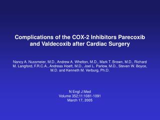 Complications of the COX-2 Inhibitors Parecoxib and Valdecoxib after Cardiac Surgery