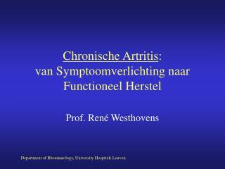 Chronische Artritis :  van Symptoomverlichting naar Functioneel Herstel