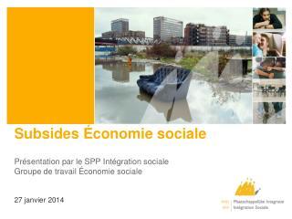 Subsides Économie sociale
