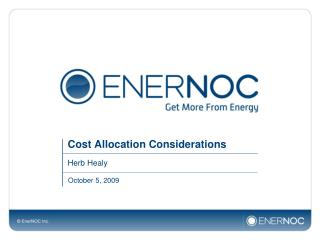 Cost Allocation Considerations