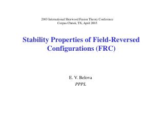 Stability Properties of Field-Reversed Configurations (FRC)
