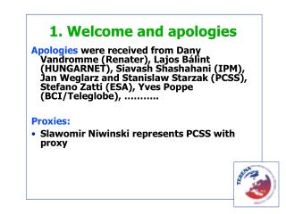 1. Welcome and apologies