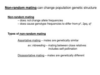 Non-random mating can change population genetic structure