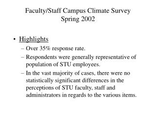 Faculty/Staff Campus Climate Survey Spring 2002