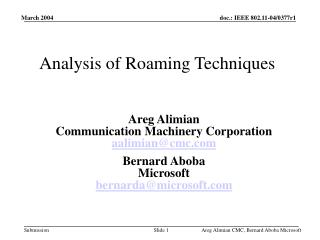 Analysis of Roaming Techniques